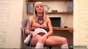 Hot babe sticks a dildo up her ass on webcam and loves it with a wet sigh