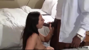 Hot milf is gently sucking a big, black dick with out even thinking of pleasuring a man